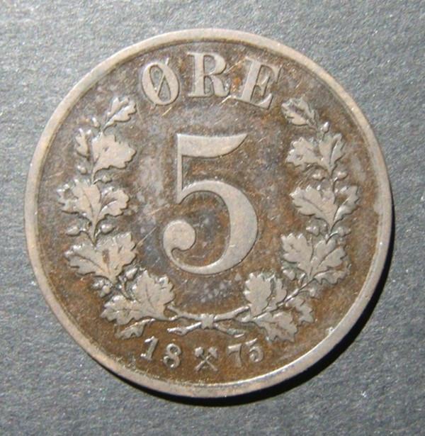 النرويج / النرويجية 5 Ore 1875 عملة برونزية للتاريخ الرئيسية ، F-VF