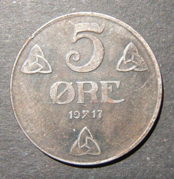 נורבגיה / מלחמת העולם הנורבגית I WWI בעיה 5 Ore 1917 מטבע ברזל, EF