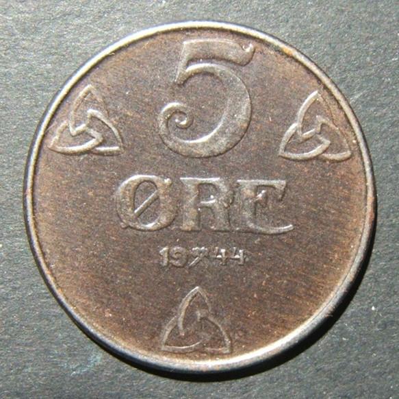 נורבגיה / מלחמת העולם השנייה מלחמת העולם השנייה Quisling-German הכיבוש 5 Ore 1944 מטבע ברזל, UNC