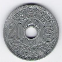 Frankreich: 20 Centimes-Münze, 1945 (kein Münzzeichen), FU