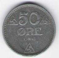 Norway: 50 Ore coin, 1943, VF-EF