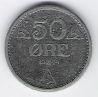 Norwegen: 50 Öre-Münze, 1944, SS-VZ