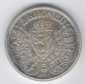 מטבע נורבגית 2 קרונר 1917 מכסף במצב EF-AU
