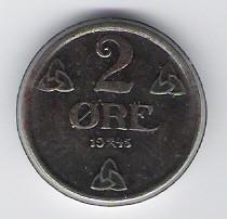 Norwegen: 2 Öre-Münze, 1945, FU