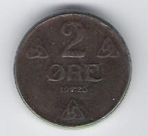 Norwegen: 2 Öre-Münze, 1920, SS