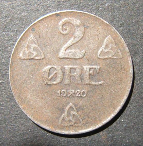 נורבגיה / מלחמת העולם הראשונה I issue iron 2 Ore 1920 מטבע, VF