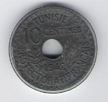 Tunisia: 10 Centimes coin, 1942, UNC
