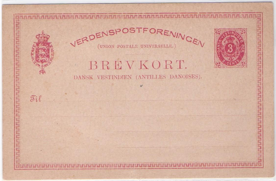 Danish West Indies uniface pp pc for 3 cents, circa. 1870-1902