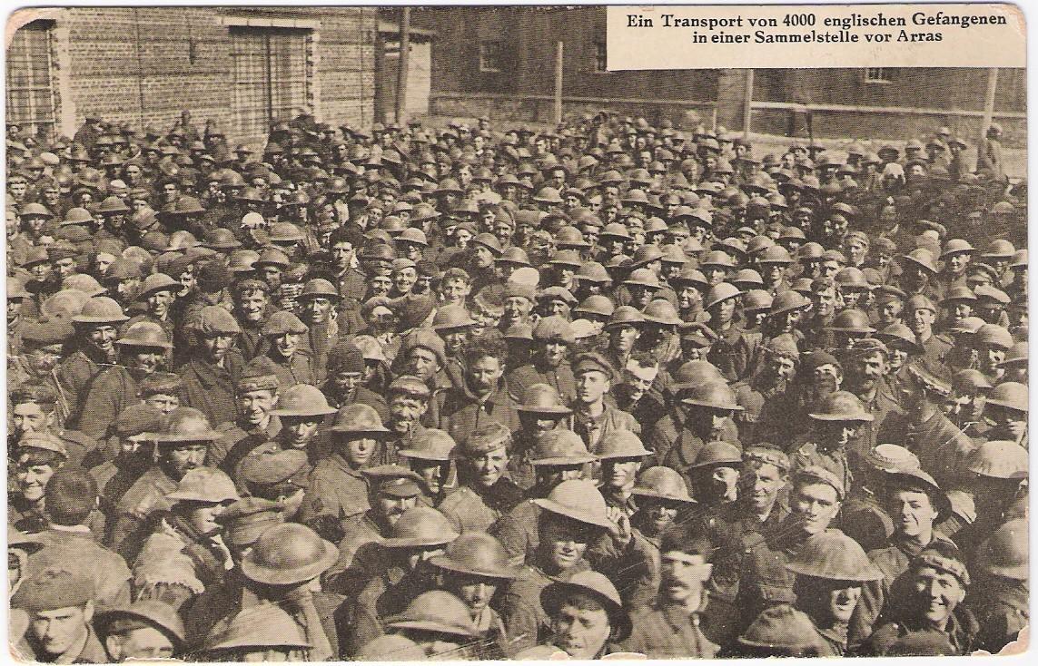 بطاقة بريدية: الحرب العالمية الأولى الألمانية أنا الدعاية PC إعادة. أسرى الحرب البريطانيين في أراس ، c.1917-18