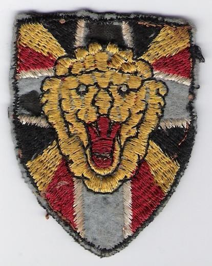 Korean War Belgian Battalion cloth formation arm patch: this is the Belgian (not Korean) made issue from 1951-55; design based on 2nd insignia of wartime 1st Independent Belgian Br