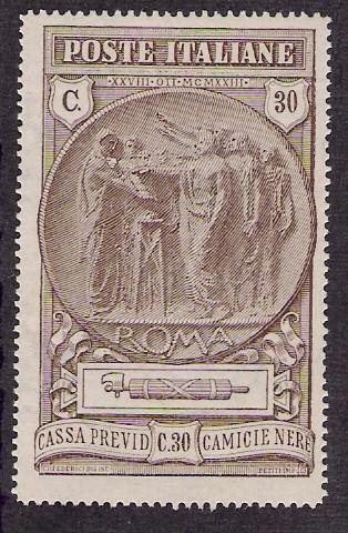 Italy: x3 Blackshirt fund stamp set, 1923; mint lt-hinged, full gum