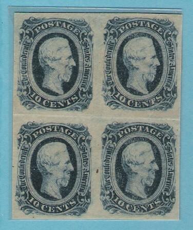 Konföderierte Staaten von Amerika, Block x4 CSA #12 dunkelblau 10 Cent Briefmarken, ungebraucht