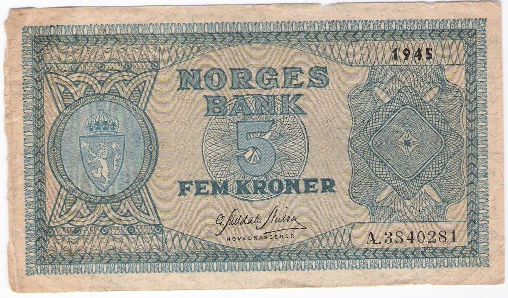 Norway: 5 Kroner banknote, 1945 A; F-VF