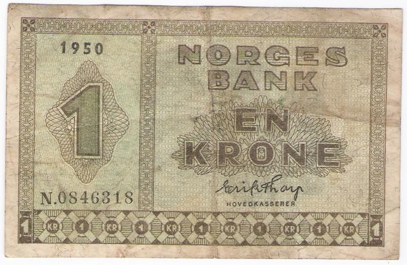 Norway: 1 Kroner banknote, 1950 N; F-VF