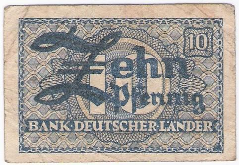 Deutschland: 10 Pfennig-Banknotr, Bank Deutscher Lander, 1948, S-SS