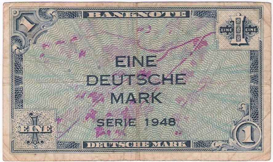 Deutschland: 1 Deutsche Mark-Banknote, 1948, alliierte Besatzung; S-SS