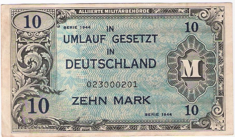 Germany: 10 Mark, Allied Military mark banknote, 1944-48; Forbes; EF