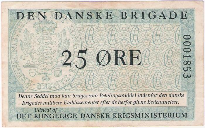 Dänemark: 25 Öre-Banknote von Dänischer Brigade in Deutschland, 1947-58, VZ
