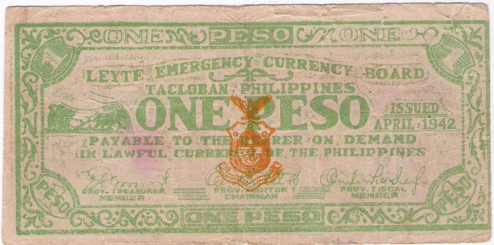 Philippines: Leyte guerilla 1 Peso banknote, 1942, Ser. A; F