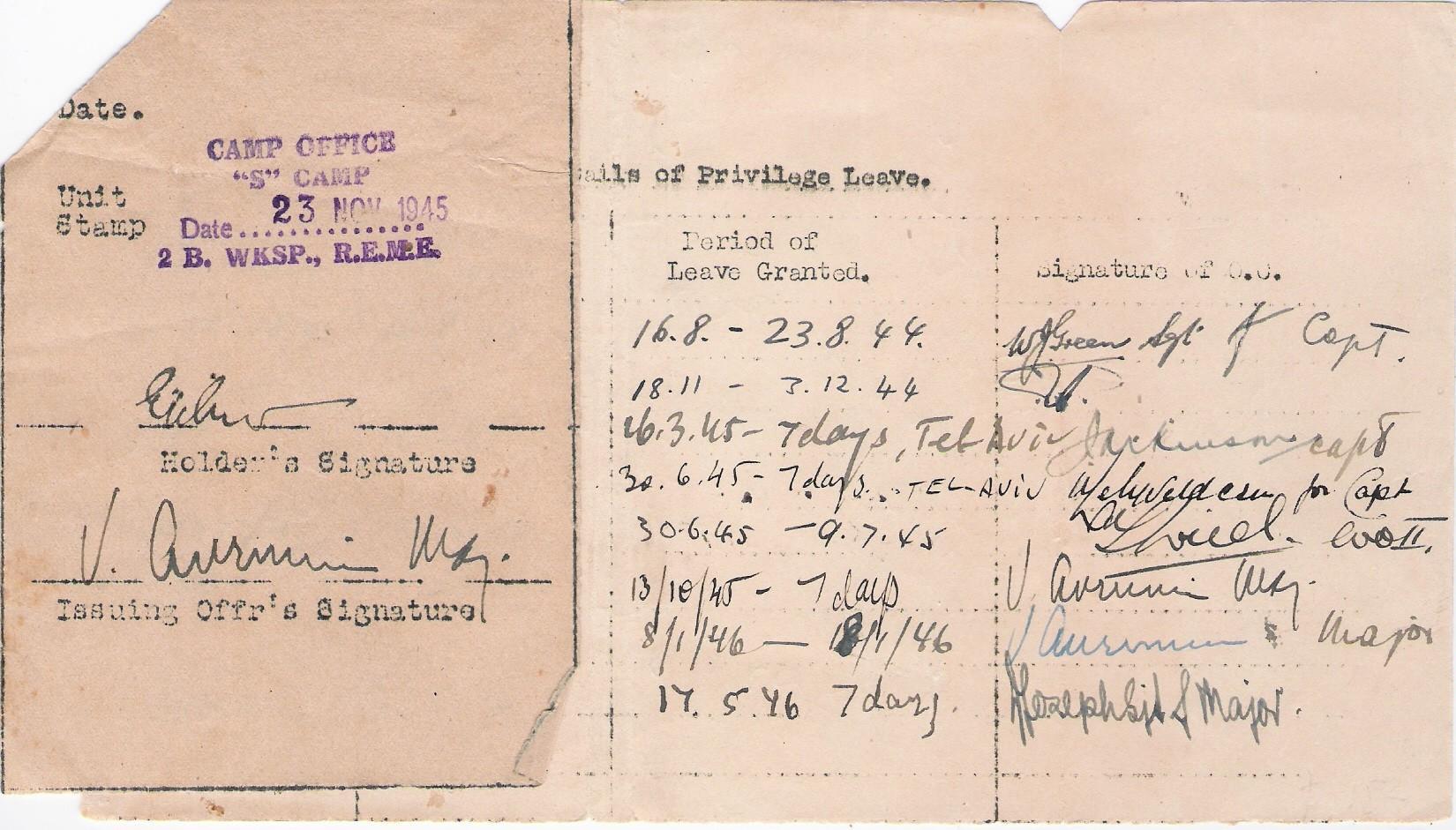 Zweiter Weltkrieg, Palästina, Urlaubsschein für jüdischen (?) Soldat der Britischen Armee