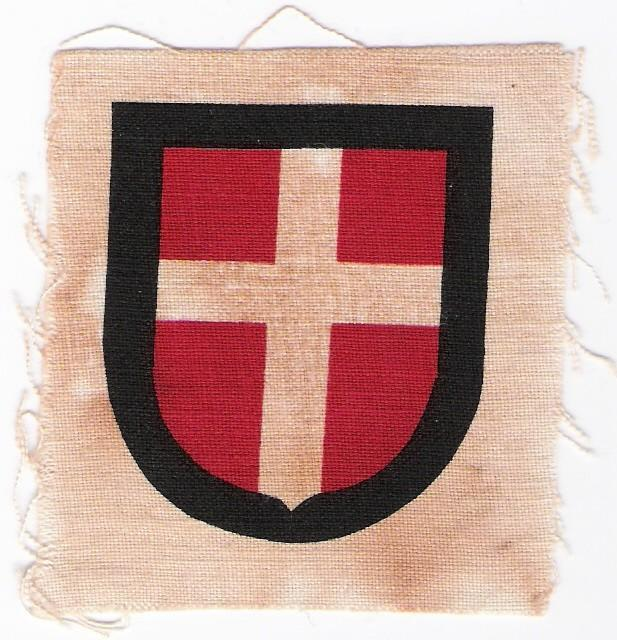Printed armshield for Danish volunteers in Waffen-SS, 1944-45