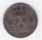فرنسا / الفرنسية 1/4 فرانك 1826 A ، عملة فضية ، VF-EF
