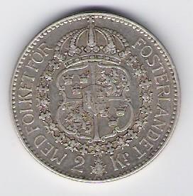 السويد: عملة كرونر 2 ، 1928 G ، SS-VZ