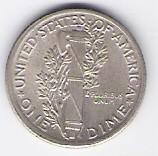 American silver Mercury Dime, 1960; high grade