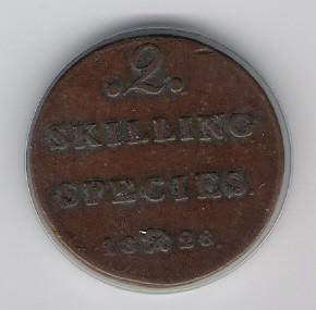 Norway: 2 Skilling Species coin, 1828, VF