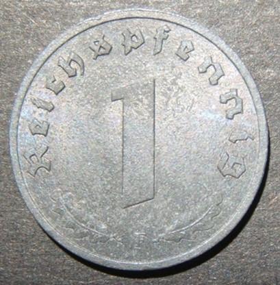 גרמניה של בעלות הברית נושא הכיבוש 1 מטבע Pfennig 1945 F, UNC; KM-A103