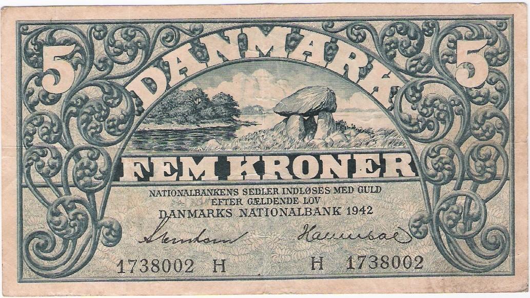 Denmark: 5 Kroner banknote, 1942 in blue, VF