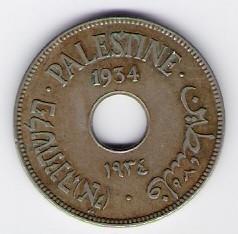 Palästina-Mandat: 10 Mils-Münze, 1934 SS-VZ