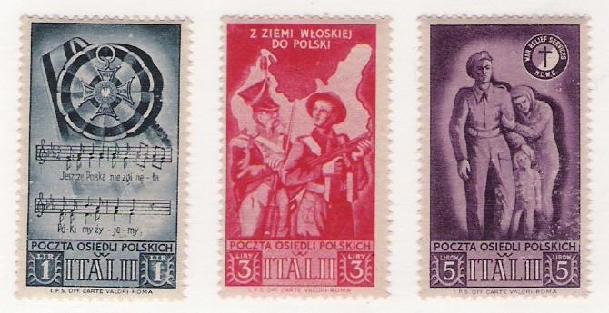 Polen: 'Neuansiedlung Korps in Italien' Set x14 Etiketten, 1946; m/Überdrücken