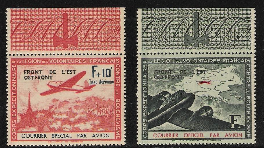 France: x2 LVF air labels with tabs, w/o accents; 1942 ovptd issue