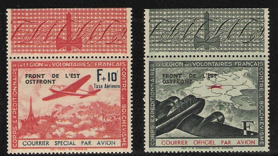 Frankreich: x2 Luftpost-Marken registriert, ohne Akzente; 1942 übedruckte Ausgabe
