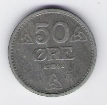 Norwegen: 50 Öre-Münze, 1942, VZ