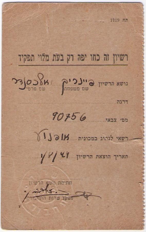 Israelische Armee, Unabhängigkeitskrieg, Führerschein, 1948