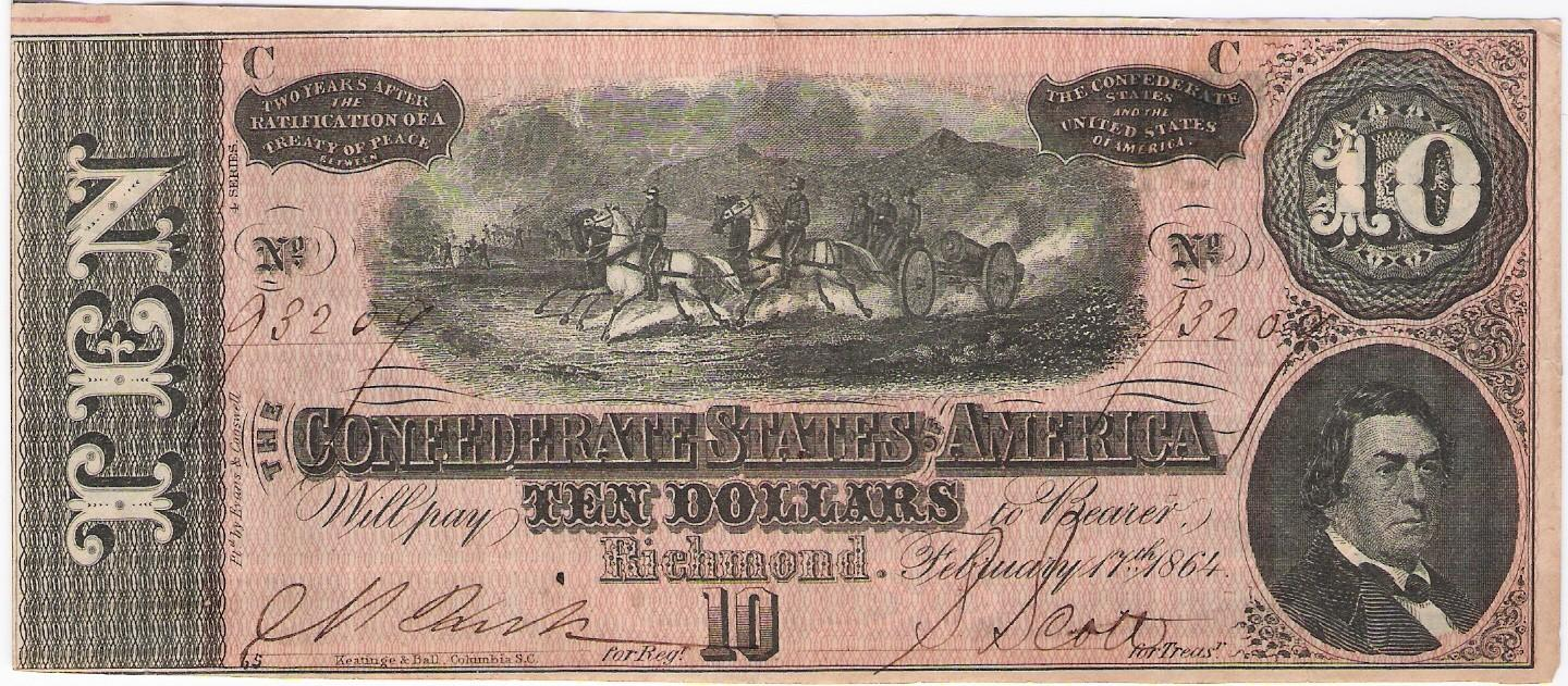 Confederate States America 10 Dollars banknote, 1864 C series, EF