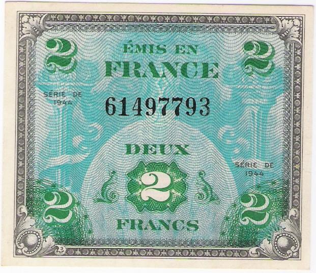 Frankreich: Set 2, 5 & 10 Franken-Banknoten von Alliierter Militär, 1944 1. Ausgabe, FU-ST