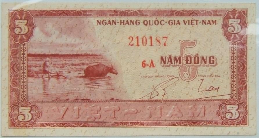 Vietnam: x2 banknotes: S. Viet 5 Dong 1955 UNC; N. Viet. 1 Dong 1958 VF