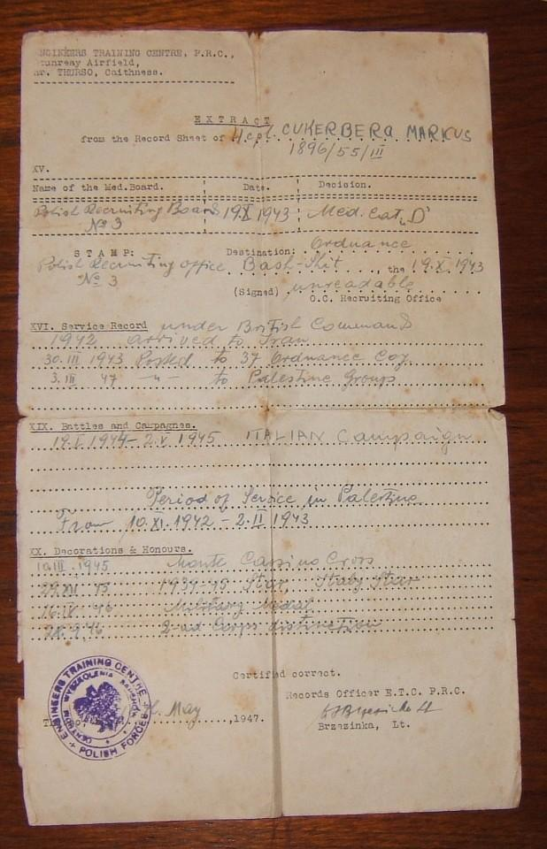 British Army 'extract' of Jewish soldier ex. Polish exile forces, 1947