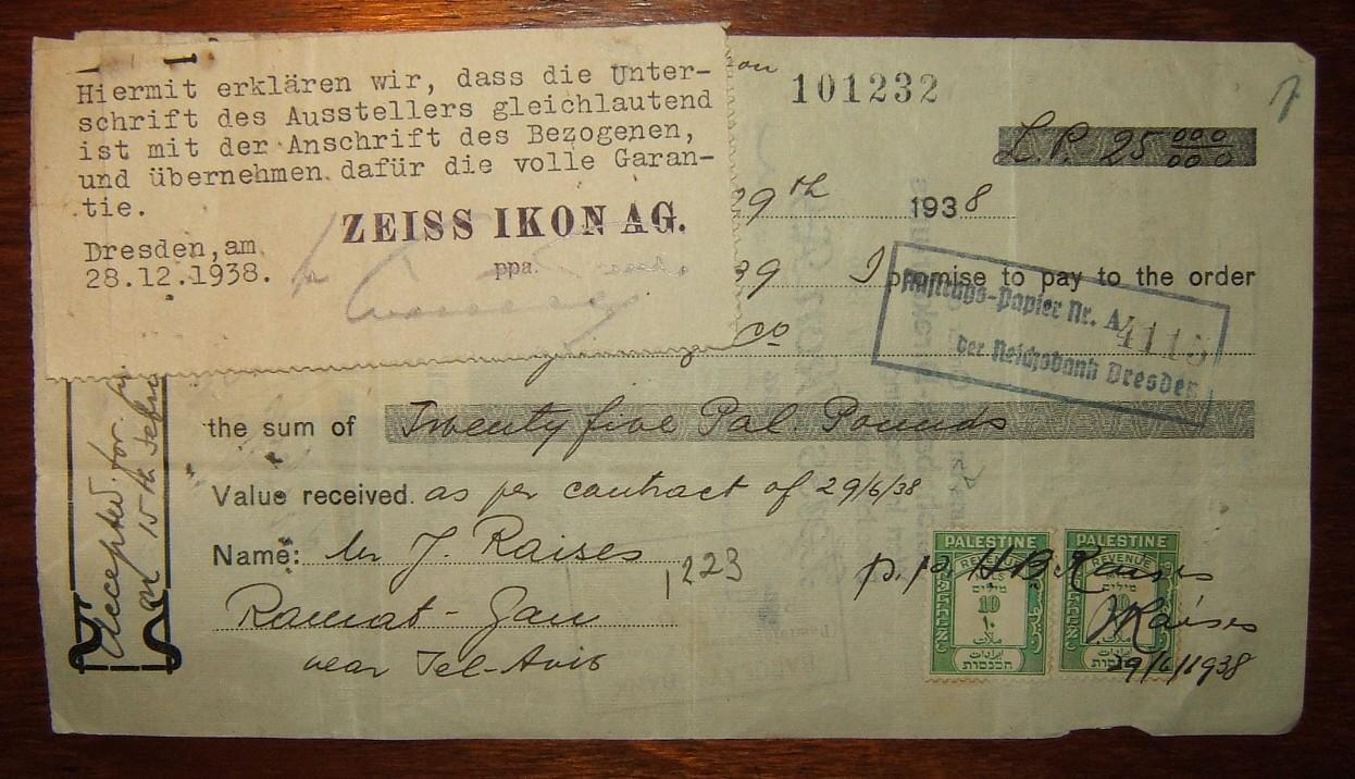 Palestine Mandate: Templars Bank 25 Pound cheque, 1938-39