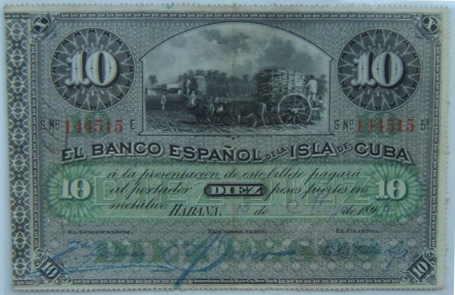 Cuba: x2 banksnotes: 10 Pesos 1896, UNC; 50 Pesos 1950, VF-EF