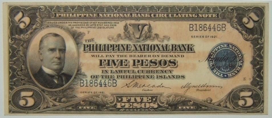 Philippines: 5 Pesos banknote 1921, CRISP/UNC (P-53)