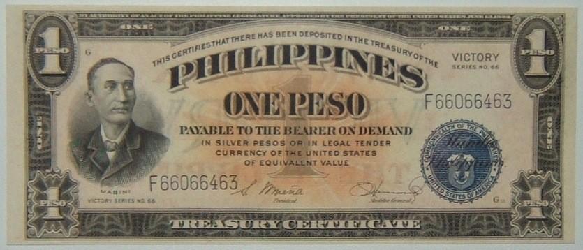 Philippines: 1 Peso banknote (1949) w/'Victory'; CRISP/UNC.