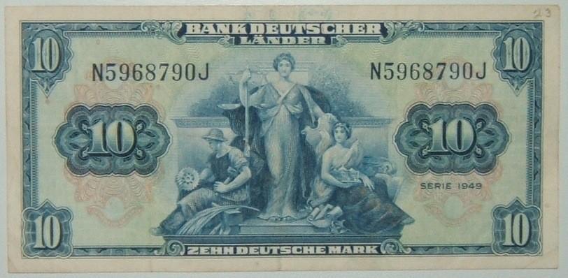 Deutschland: 10 Mark Banknote, 1949, Bank Deutscher Länder SS+