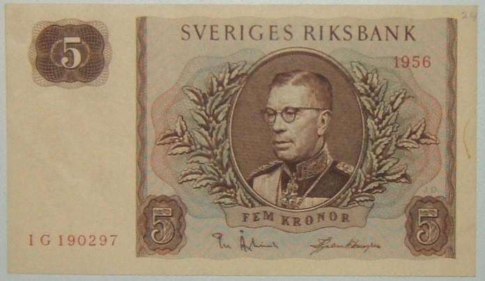 Sweden: 5 Kroner banknote, 1956; AU