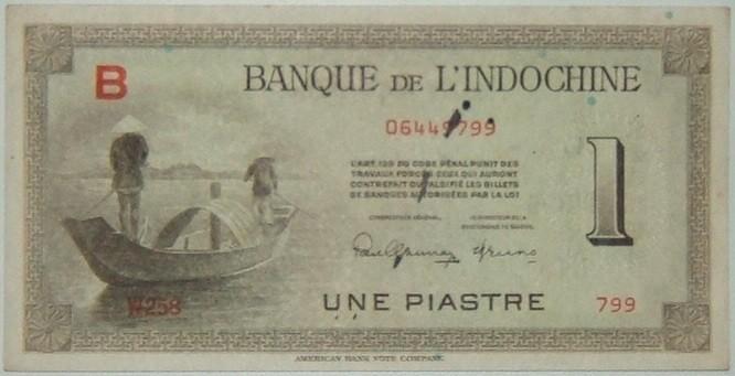 Frankreich: Französische Indochina, 1 Piaster-Banknote (1945) mit