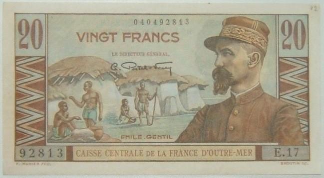 Frankreich: Französische Äquatorialafrika, 20 Franken-BBanknote (1947); FU