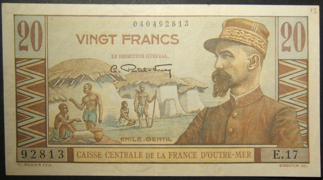 French Equatorial Africa 20 Francs currency banknote 1947؛ Emile Gentile، P22 AU